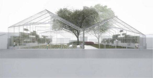 Vista diseño parque tipo galpón en Wynwood Miami