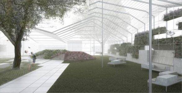 Vista interna diseño parque tipo Invernadero